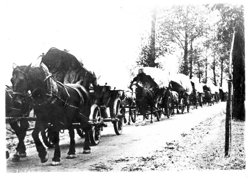 En Prusse orientale. Devant les Russes, les Allemands battent en retraite. Un convoi se dirigeant sur le centre de la Russie
