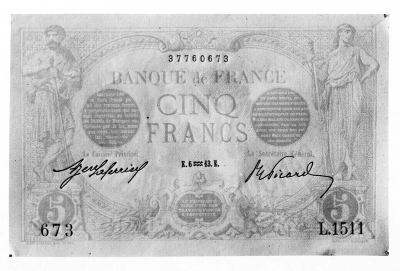 En prévision de la Guerre. Nouvelle coupure de cinq francs mise en circulation afin de faciliter les transactions
