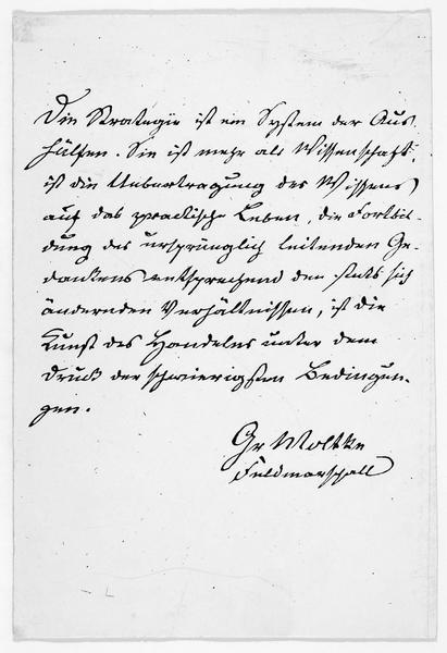 Lettre manuscrite concernant la stratégie allemande, avec la signature autographe de Helmuth Karl Bernhard, comte von Moltke, mort le 24 avril 1891 à Berlin