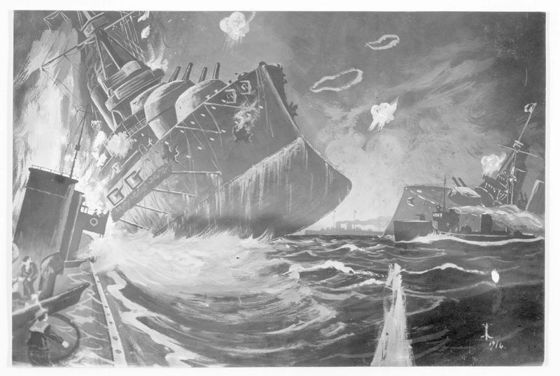 Bataille du Jutland, mai 1916. Combat naval de nuit dans la mer du nord ; à gauche le cuirassé anglais Queen Mary, à droite l'Invincible, d'après un dessin du peintre de marine allemand Anton Klamroth