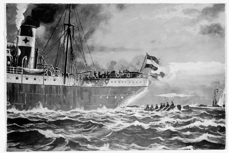 Attaque d'un sous-marin allemand par un bateau de commerce armé. D'après un dessin du peintre de marine allemand, Anton Klamroth