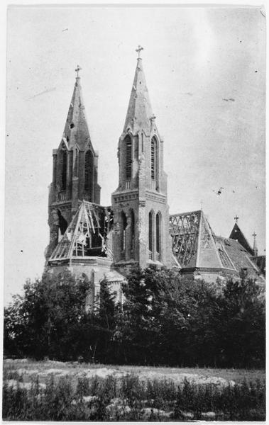 L'église de Politschno bombardée