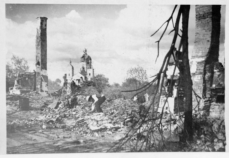 Vue de la ville de Radymno en ruines