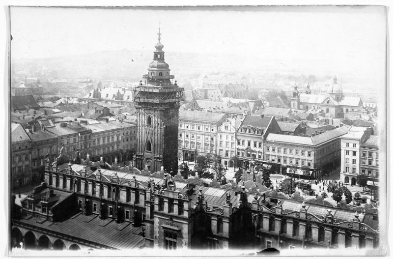 Vue d'ensemble de la Sukiennice (Halle aux Draps) de Krakau (en allemand)