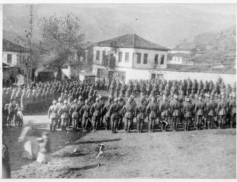 Service religieux allemand dans un cantonnement de repos à l'arrière du front turc