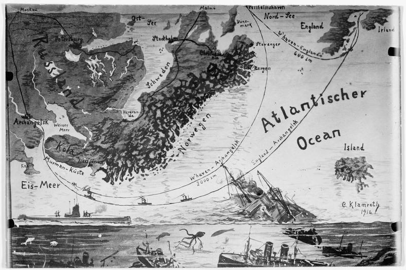Carte géographique illustrée montrant la distance de l'Angleterre à Arkangelsk, pour le transport de munitions anglaises par la mer du Nord. D'après un dessin du docteur C. Klamroth 1916
