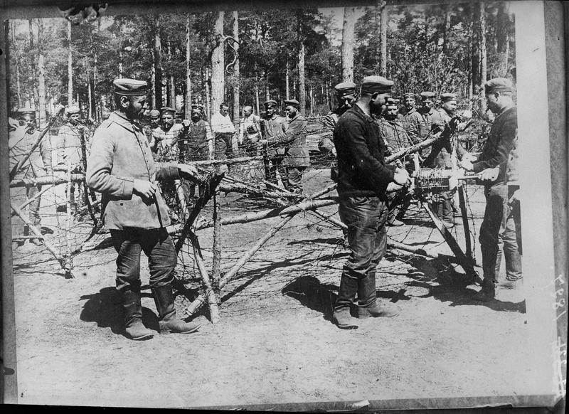 Barbelés pour entourer le camp de prisonniers