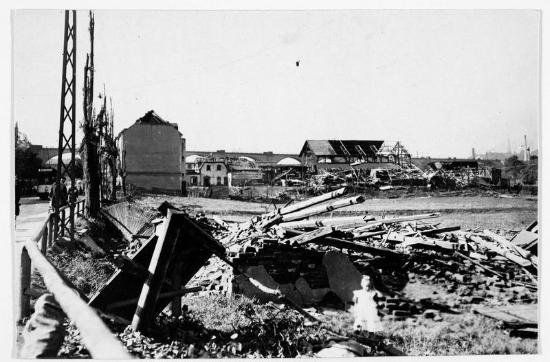 Furth, près de Chemnitz, qui a souffert sérieusement après le passage d'un ouragan