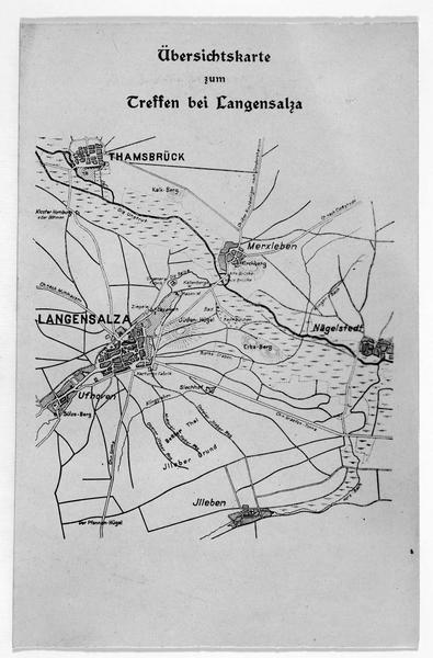 Carte du champ de bataille près de Langensalza, où la fameuse armée hanovrienne fut forcée de capituler. Le Generalmajor von Flies commandait les troupes prussiennes le 27 juin 1866