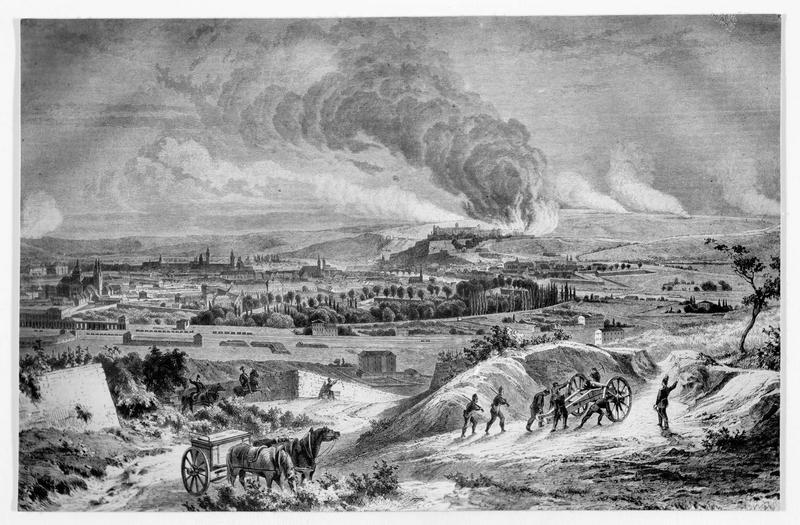 Gravure sur bois représentant le bombardement de la forteresse de Mariembourg près de Wurzbourg le 27 Juin 1866 par l'armée allemande, sous les ordres du général Hans Edwin von Manteuffel