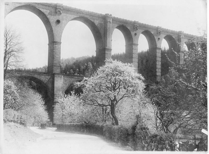 Vallée de Mulden au printemps avec son pont aqueduc
