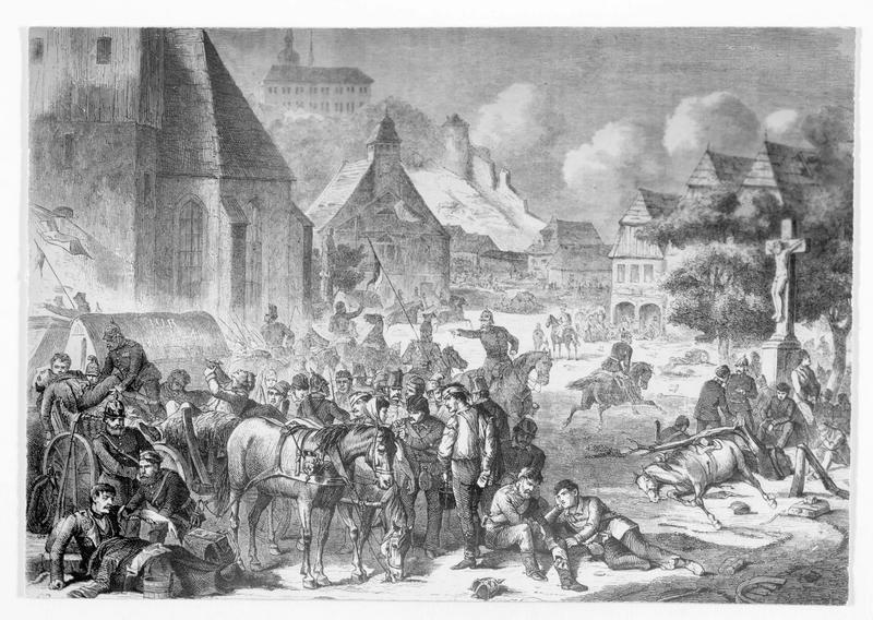 La prise de Nachod par les Allemands, d'après une gravure sur bois de l'époque