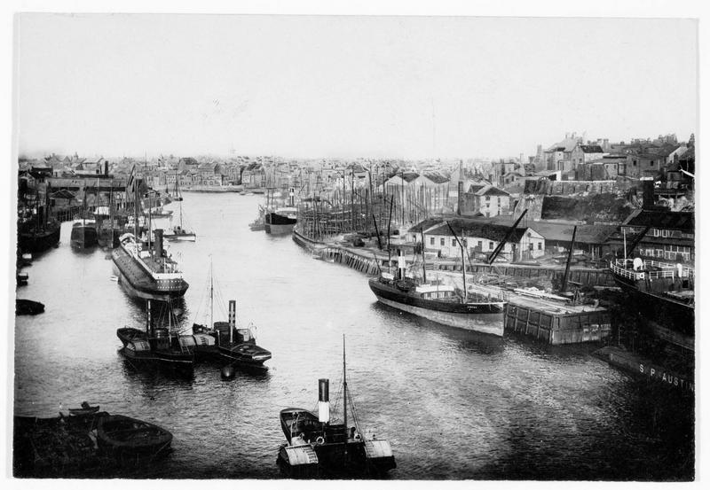 Vue du port de Sunderland, dans le comté d'York, qui fut fortement endommagé par le dernier raid des zeppelins