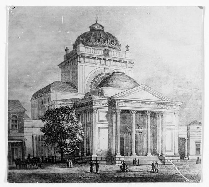 Gravure représentant la grande synagogue de Varsovie