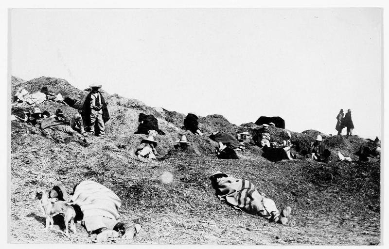 La guerre entre Américains et Mexicains. Camp de rebelles mexicains, près de la frontière américaine