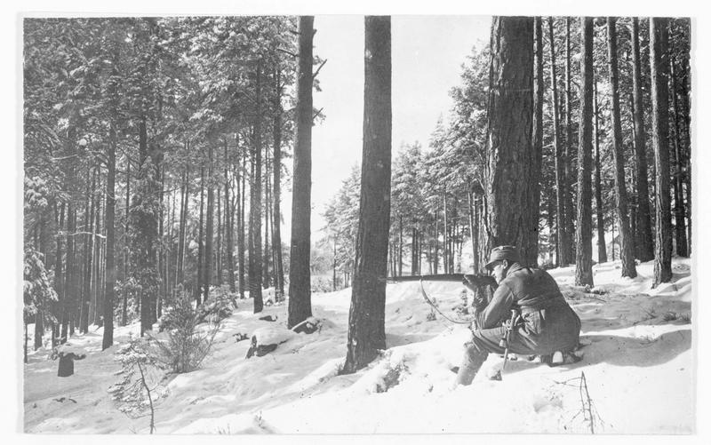 Soldats alpins bavarois en avant-poste dans la forêt enneigée