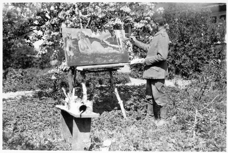 Front oriental  'Amor im Felde' : un soldat peintre pendant un repos en campagne