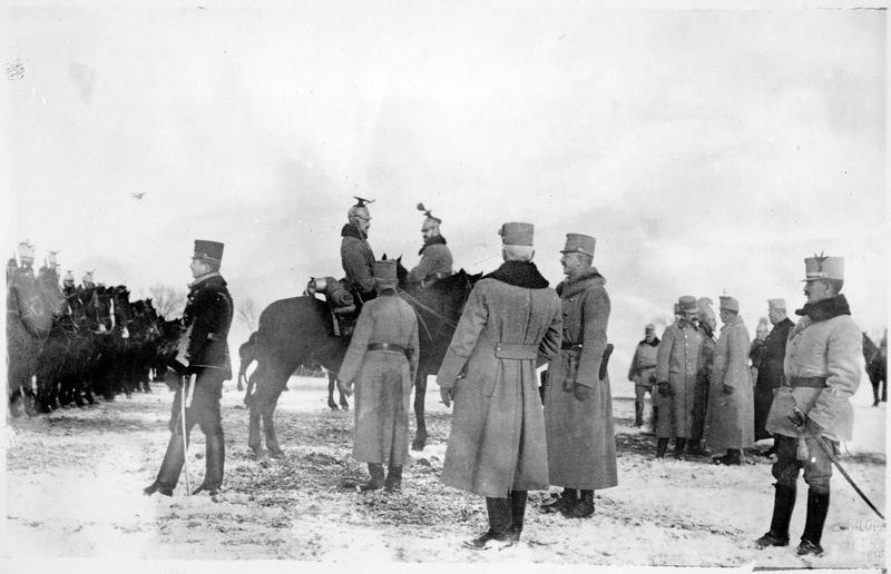 L'archiduc d'Autriche Karl Franz Josef. Visite d'un régiment de Uhlans en Pologne russe