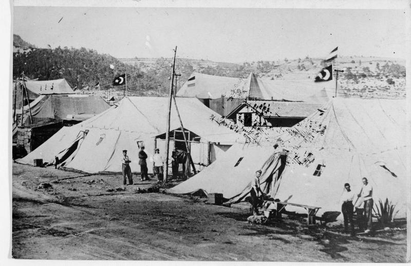 Campement de toile allemand derrière le front en Asie mineure