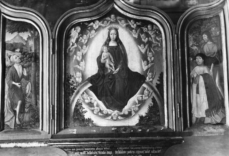 panneau peint (triptyque ouvert) : La Vierge en gloire, saint Jérôme et un donateur