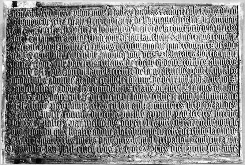 plaque commémorative de la fondation de la chapelle de la Conception de Notre-Dame par Nicolas Rembert en 1503