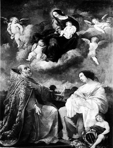 Peinture sur toile : La Vierge à l'Enfant, un saint et la Charité