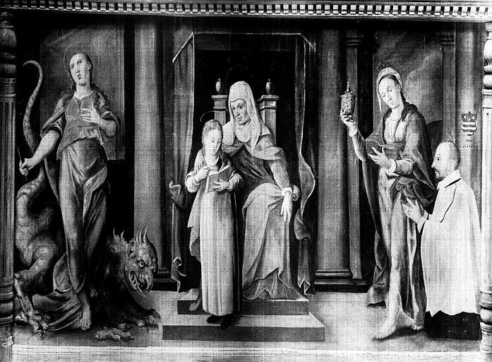 Panneau peint : Education de la Vierge, donateur avec sainte Marguerite et sainte Madeleine