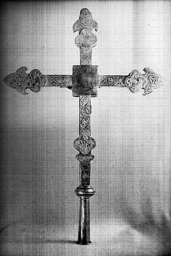 Croix processionnelle, feuilles de cuivre estampé (revers)