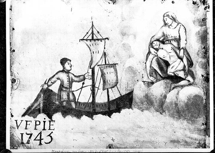Peinture sur toile ex-voto : Bateau en perdition et Vierge de pitié