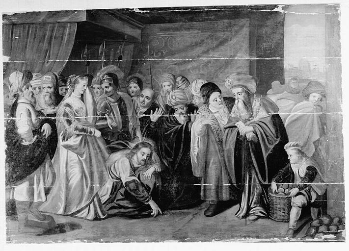 Panneau peint : Le Christ et la femme adultère