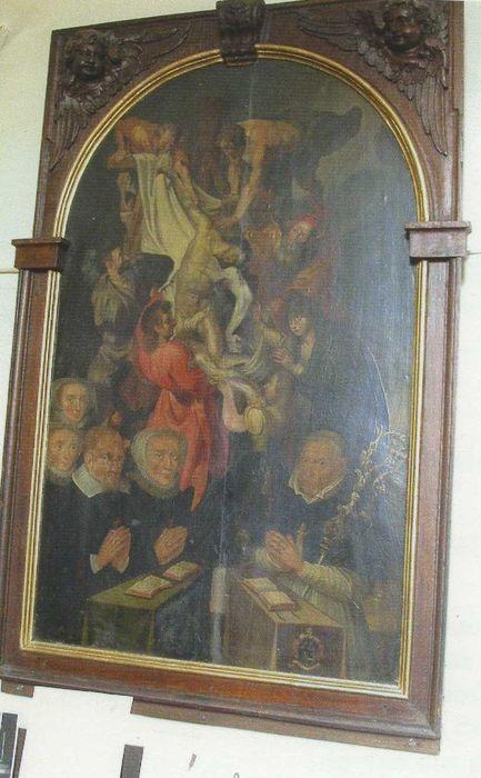 Tableau et son cadre : Descente de croix avec cinq personnnages