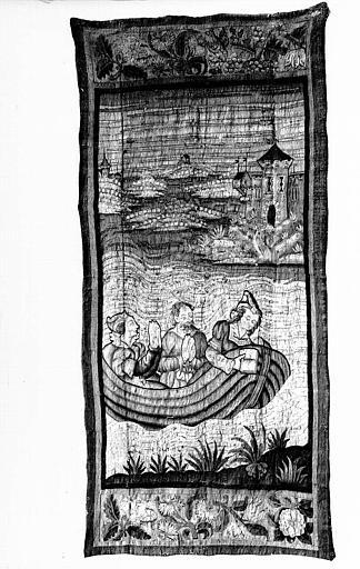 Tapisserie : Trois personnages dans une barque