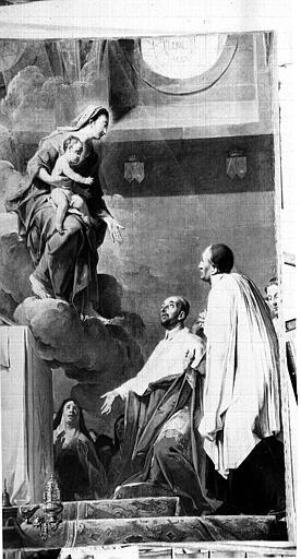 tableau, cadre : Le Cardinal de Bérulle faisant hommage à la Vierge des Religieuses Carmélites, qu'il introduisit en France