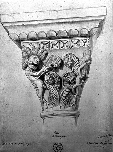 Chapiteau, dessin à la mine de plomb, signé