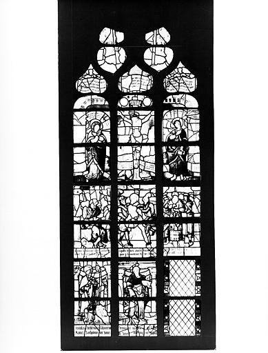 Crucifixion et saint Barthélémy, panneau de vitrail (photomontage)