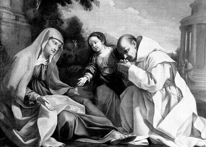 Tableau : sainte Anne la Vierge et un chartreux dans un paysage