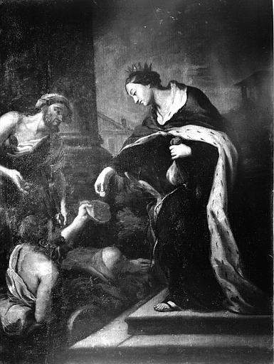 Tableau : sainte Elisabeth de Hongrie faisant l'aumône