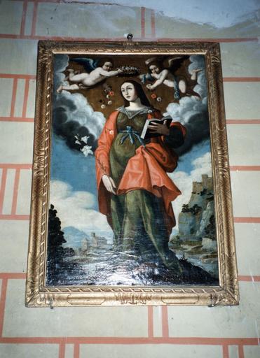 Tableau : sainte couronnée de roses