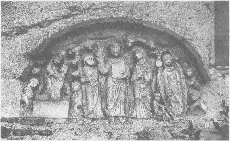 tympan : la Résurrection, l'Assomption de la Vierge, Christ en majesté (le), vue générale