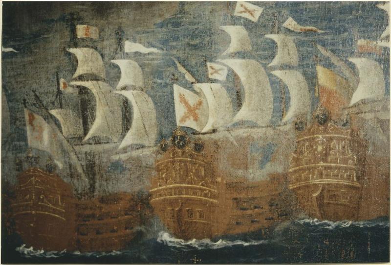 Tableau : la bataille de Lépante dite le Triomphe du Rosaire, détail