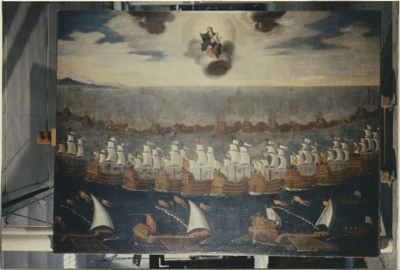 Tableau : la bataille de Lépante dite le Triomphe du Rosaire, vue générale