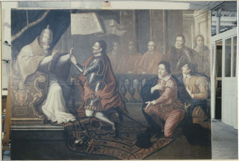 Tableau : L'entrevue de Pie V et Don Juan d'Autriche, vue générale