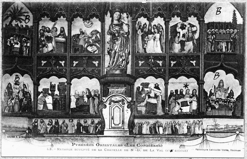 Retable, 12 bas-reliefs, statue de la Vierge : scènes de la vie de la Vierge, Vierge à l'Enfant