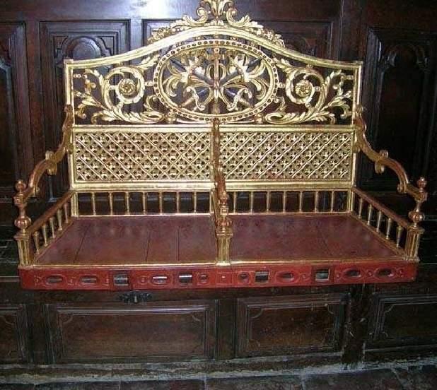 porte-reliquaire de procession, en forme de siège double dit cadireta, pour les bustes-reliquaires de saint Abdon et saint Sennen