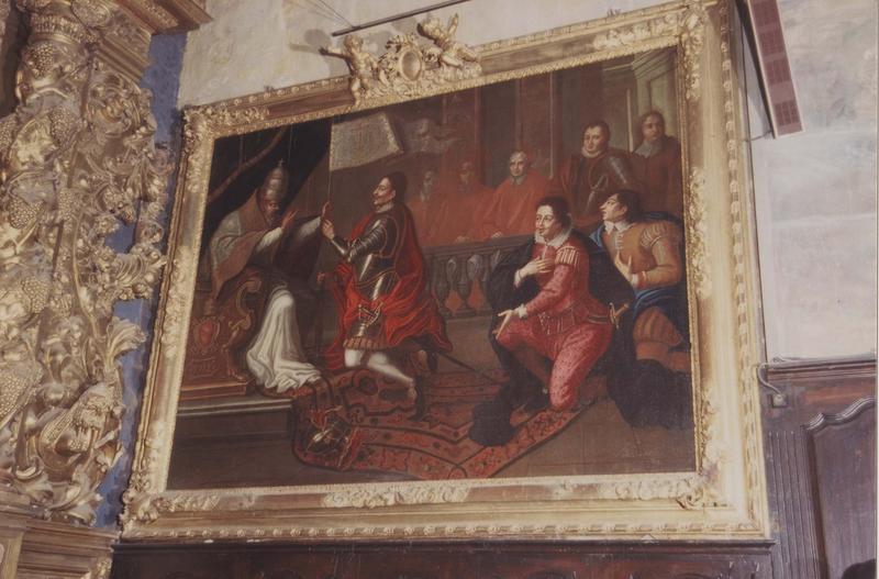 tableau, cadre : l'entrevue de Pie V et Don Juan d'Autriche, vue générale