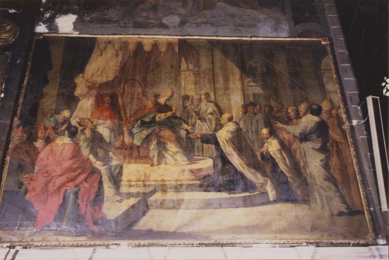 tableau, cadre : la remise de la règle des Carmes par le pape Honorius III, vue générale