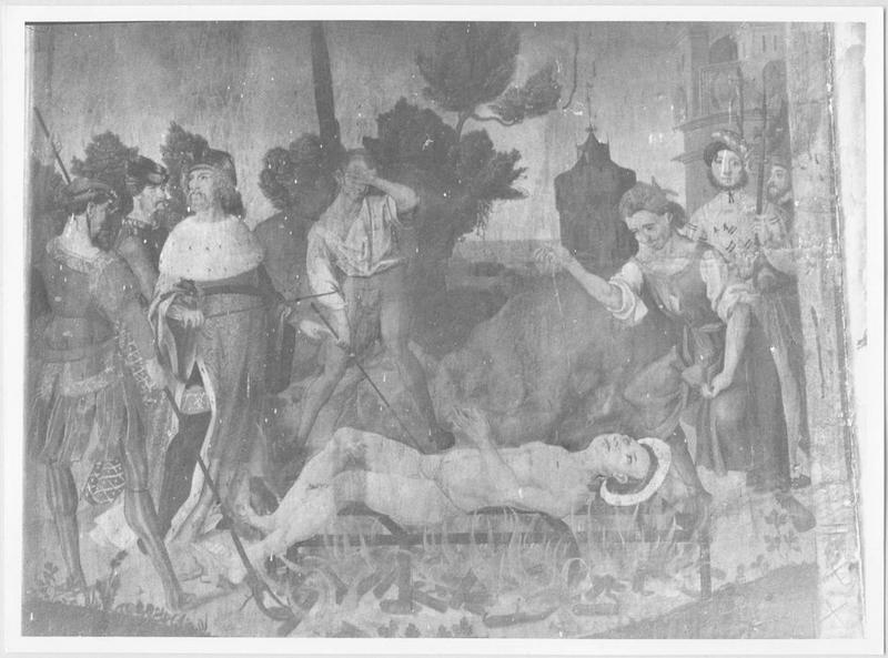 2 tableaux : Saint Roch et l'ange guérisseur, et, Le Portement de croix ; Christ aux limbes (le), le Martyre de saint Laurent
