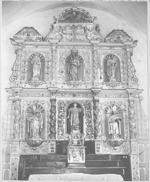 Retable, tabernacle, 5 statues du maître-autel, de saint Félix : sainte Thérèse, saint Joseph, saint Lin pape, saint Félix, saint Ermengol