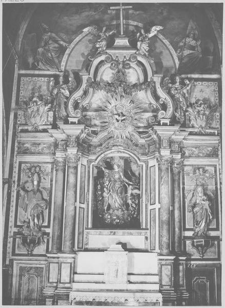 Retable, 3 statues du maître-autel : Vierge de l'Assomption, saint Augustin, sainte Monique
