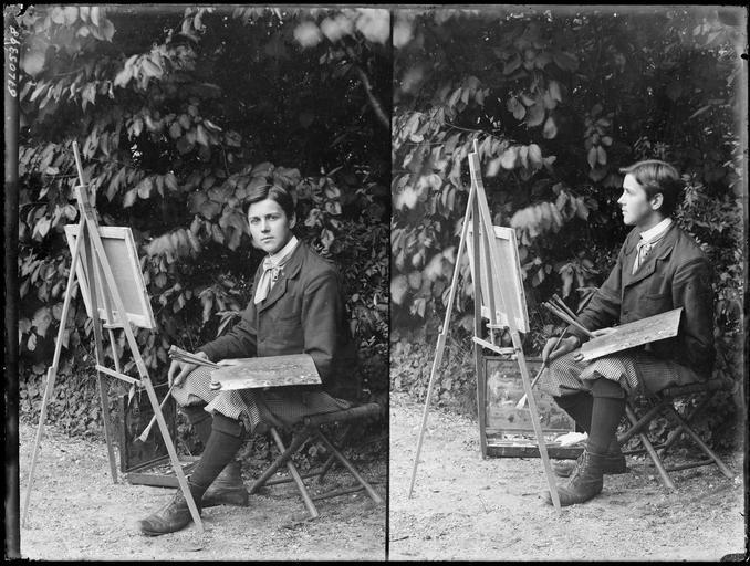 Portrait de sa famille : deux portraits de son fils Robert en artiste-peintre #
